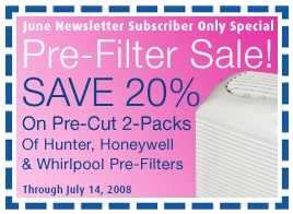 Save 20% On Pre-Cut Pre-Filter 2-Packs For Hunter, Honeywell and Whirlpool Air Purifiers