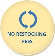 We never charge restocking fees if you wish to return your product